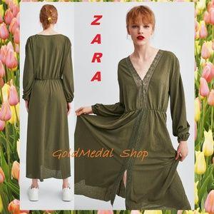 ZARA Lace Trim New Long Dress Sizes: S; M; L